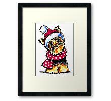 Yorkie Happy Winter Hat & Scarf Framed Print