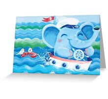 Sailor - Rondy the Elephant on a boat Greeting Card