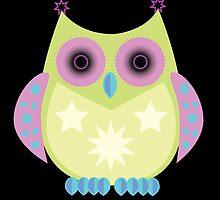Star Owl - Green Purple Blue 2 by Adamzworld
