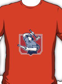 Fireman Firefighter Wielding Fire Axe T-Shirt