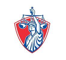 Statue of Liberty Raising Justice Scales Retro by patrimonio