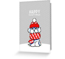 Maltese Red Plaid Scarf Happy Howl-i-days Greeting Card