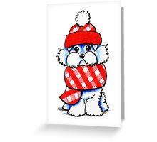 Maltese Happy Red Plaid Scarf Greeting Card