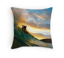 Skimboarder in Maui Throw Pillow