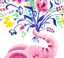 Spring Bouquet - Rondy the Elephant holding beautiful flowers Sticker