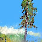 The power of one: birch tree at the sea painting by ThePaintedTree