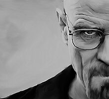 'The Danger' Handpainted Heisenberg Portrait (B&W) by GarfunkelArt