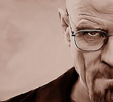 'The Danger' Handpainted Heisenberg Portrait (Sepia) by GarfunkelArt