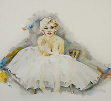 Barefoot Marilyn In White by ArtByRuta