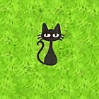 Black Cat with Green Background by Nicole Mule'