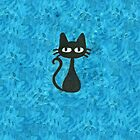Black Cat with Blue Background by Nicole Mule'