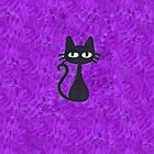 Black Cat with Purple Background by Nicole Mule'