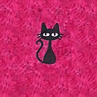 Black Cat with Pink Background by Nicole Mule'