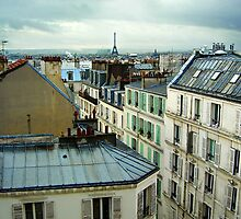 Eiffel Tower over Montmartre roofs by Johan Skybäck