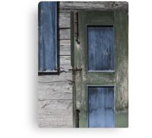 Green Door Blue Shutter Canvas Print