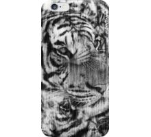 Black and White Layered Tiger Vintage iPhone Case/Skin