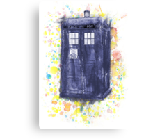 Blue Box in Wibbly Wobbly Watercolour Canvas Print
