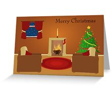 A Cosy Sitting Room on Christmas Eve Greeting Card