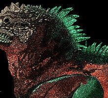 Marine Iguana (Colorized) by Nathan Jekich