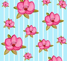 Vintage candy stripes floral print by bardenne