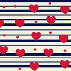 Vintage pattern print - sailor hearts by bardenne