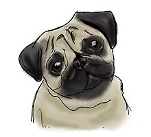Pug Portrait by PatiDesigns