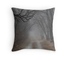 Dirt Road and Trees in the Fog Throw Pillow