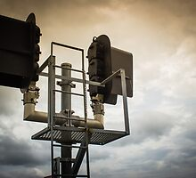 Railroad Signal with Colorful Skies by Rob Heber