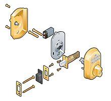 Door lock (exploded view) by Michael Jones
