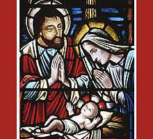 Stained Glass, Red Holy Family in German by SandraRose