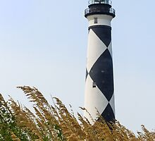 Cape Lookout Lighthouse and Sea Oats by Kenneth Keifer