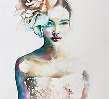 Colors inside - Watercolor cute girl face in different colors. by Tatyana  Ilieva