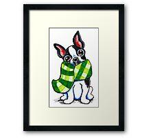 Boston Terrier Happy Plaid Scarf Framed Print