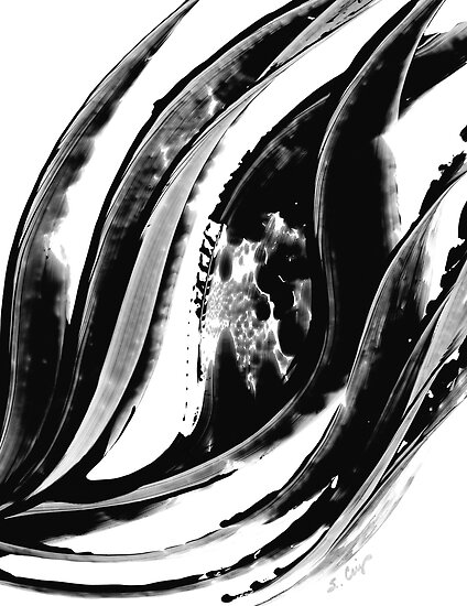 Black Magic 302 - Black And White Art by Sharon Cummings