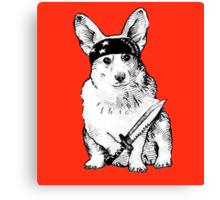 BAD dog – corgi carrying a knife Canvas Print