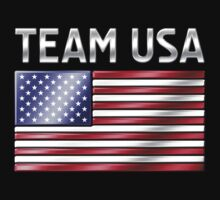 Team USA - American Flag & Text - Metallic by graphix