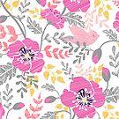 Pastel pink poppies pattern by oksancia