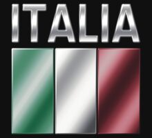 Italia - Italian Flag & Text - Metallic by graphix