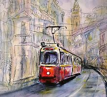 Red vintage tram by torishaa