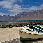 Little wooden boat on the beach by Judi Lion