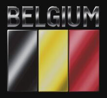 Belgium - Belgian Flag & Text - Metallic by graphix