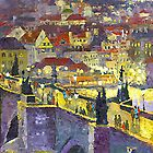 Prague Violet Panorama Night Light Charles Bridge by Yuriy Shevchuk