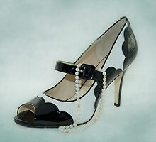 Fabulous B&W Shoe Dusty Blue Background by CptnLucky