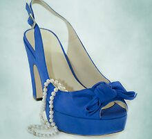 Fabulous Blue Shoe on Dusty Blue Background by CptnLucky
