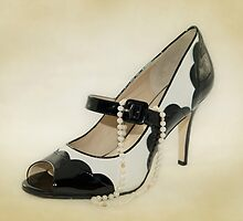 Fabulous B&W Shoe Dusty Cream Background by CptnLucky