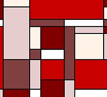 Retro Abstract Blocks in Red by Catherina Amor