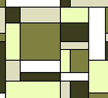 Retro Abstract Blocks in Green by Catherina Amor