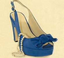 Fabulous Vintage Pearls Blue Shoe by CptnLucky