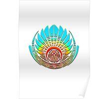 Mayan mask, crop circle, Quetzalcoatl Poster