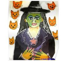 Witch With Cat Heads Poster